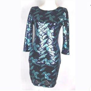 Hot Miami Style Blue Sparkle Dress